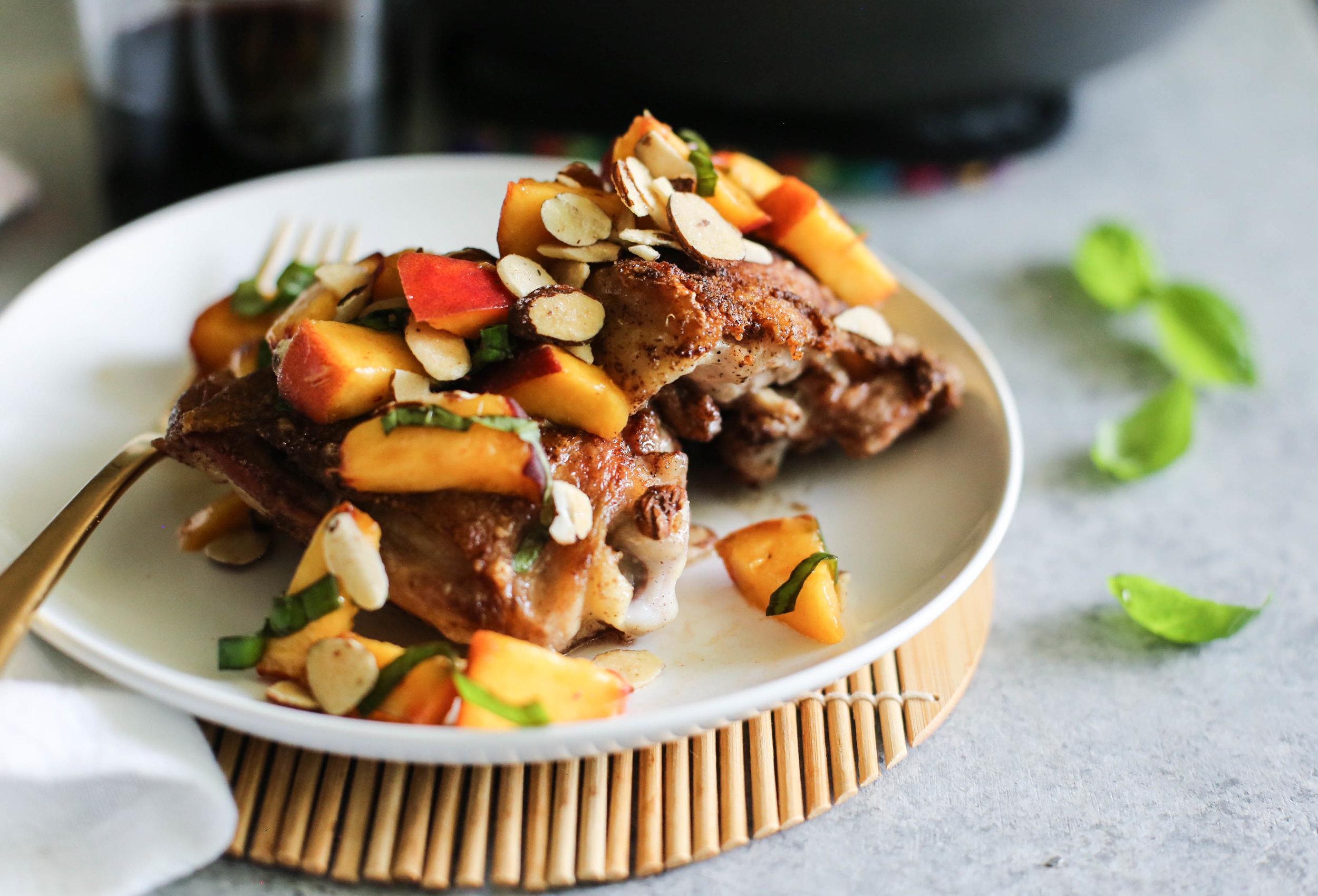 Crispy Cinnamon Spiced Chicken Thighs with Peach Salsa
