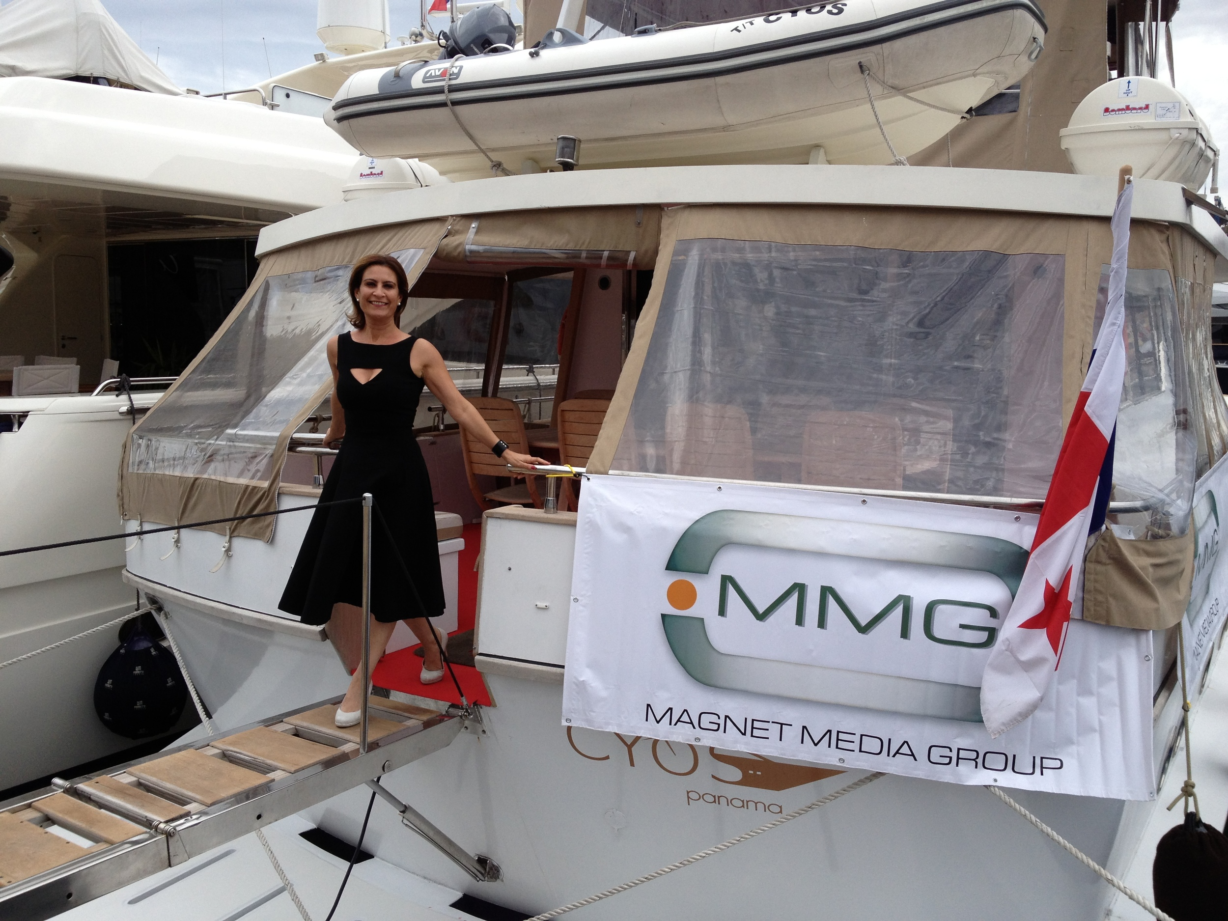 Michele Ohayon, CEO of Kavana Media, after moderating a panel on Film Financing and Distribution on the Magnet Media Group Yacht at the Cannes Film Festival 2013