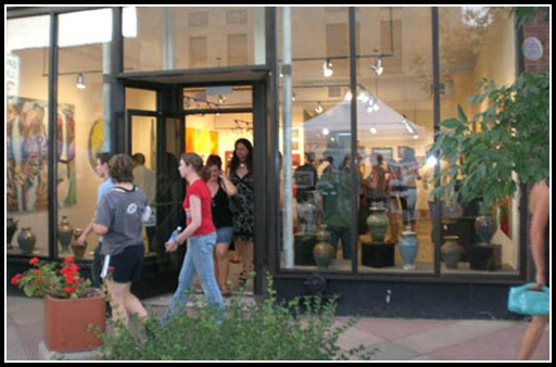 Outside the C.C. Opiela Gallery during a summer First Friday