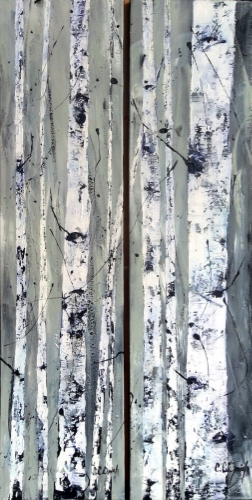 Morning Ice Diptych 48x12 each, 48x24 total