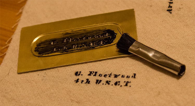 Two-Line Brass Stencil Plate for Sergeant-Major Christian Fleetwood, 4th U.S.C.T., and recipient of the Congressional Medal of Honor.