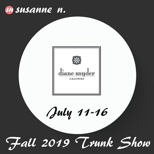 EXCITING NEWS! ⁣ Beginning this Thursday July 11th through Tuesday July 16th we're hosting the Entire Collection of DIANE SNYDER CASHMERE at the shop! ⁣ Super chic cashmere designs with a modern sensibility and the highest quality. ⁣ ⁣ ANY STYLE - ANY COLOR! You pick your favorite styles (64 available) and the color combinations that are perfectly YOU! ⁣ ⁣ PLUS - come SIP & SHOP this Thursday when we'll have a very special evening OPEN TIL 8PM! ⁣ ⁣ Stop By, Bring a Friend & Get Dressed at Susanne N.! ⁣ ⁣ #DianeSnyderCashmere #ColorCustomization ⁣ #Cashmere #Sweaters #Tops #Loungewear #Scarves ⁣ #SipAndShop ⁣ ⁣ #GetDressed #susannenfashion #susannenuptown #uppermontclairnj ⁣ ⁣ #fashion #highfashion #styleinspiration #classicstyle #artisans #fashioninspo #lovethislook #instalike #montclairnj #essexcountynj #newjersey ⁣