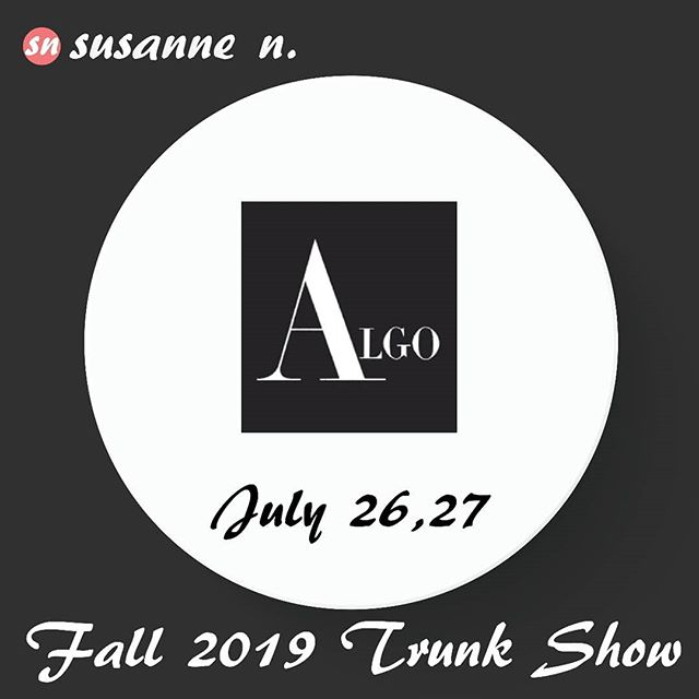 The ALGO OF SWITZERLAND Trunk Show starts tomorrow! ... Visit Susanne N. this Friday and Saturday for an opportunity to see the Fall/Winter 2019 collection first hand.  VIsit the shop and #getdressed  Also - just a reminder that will be closed for summer holiday beginning July 28th through August 15th.  #trunkshow  #AlgoofSwitzerland  #susannenuptown  #susannenfashion  #193bellevueavenue  #uppermontclairnj .
