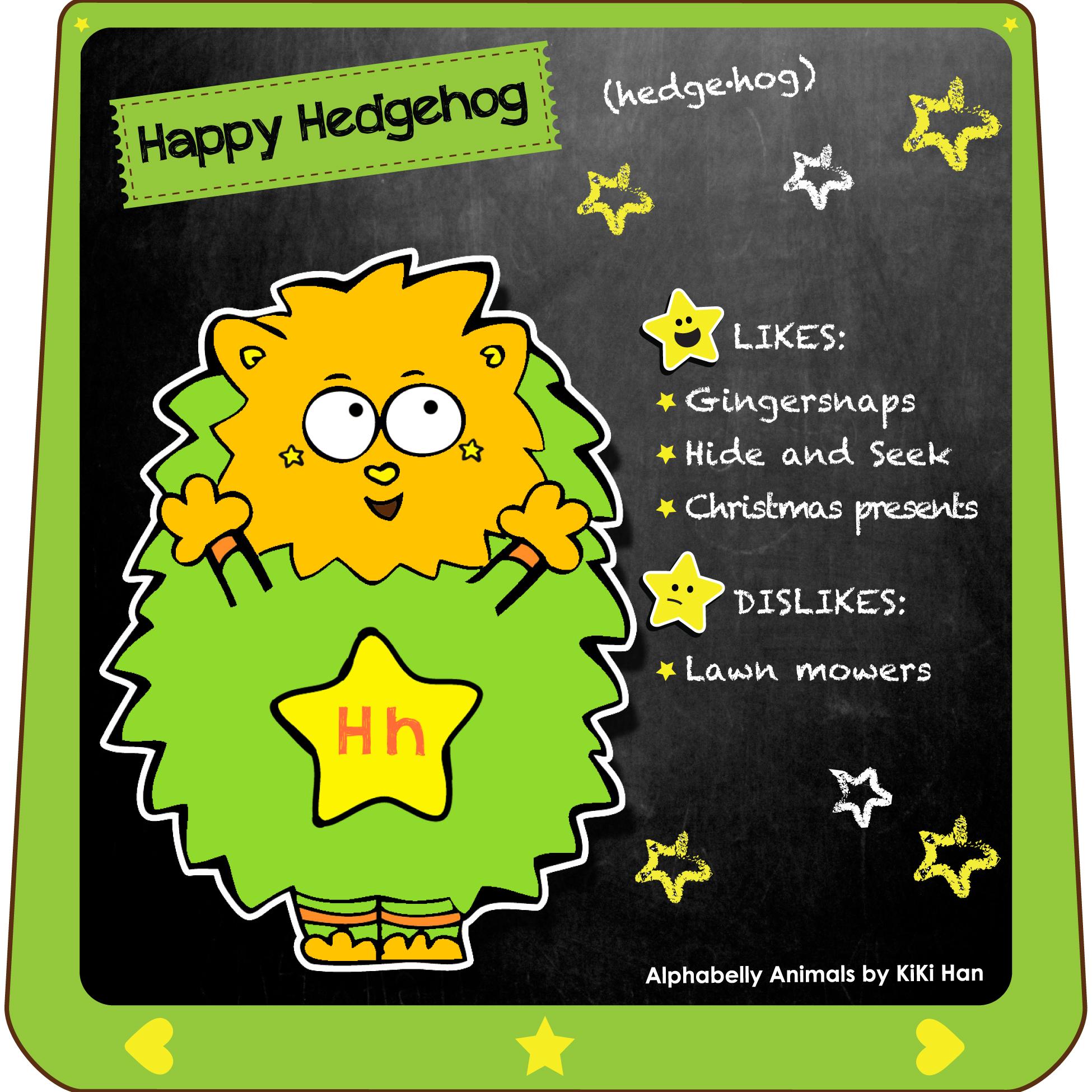 Hedgehog I KiKi Han I KiKiHan I GeekyKiKi I Geeky KiKi I Missgeekykiki I Cutiecons I Cutiecon I Cutie Con I Alphabellies I Alphabelly I A to Z Animal Poster