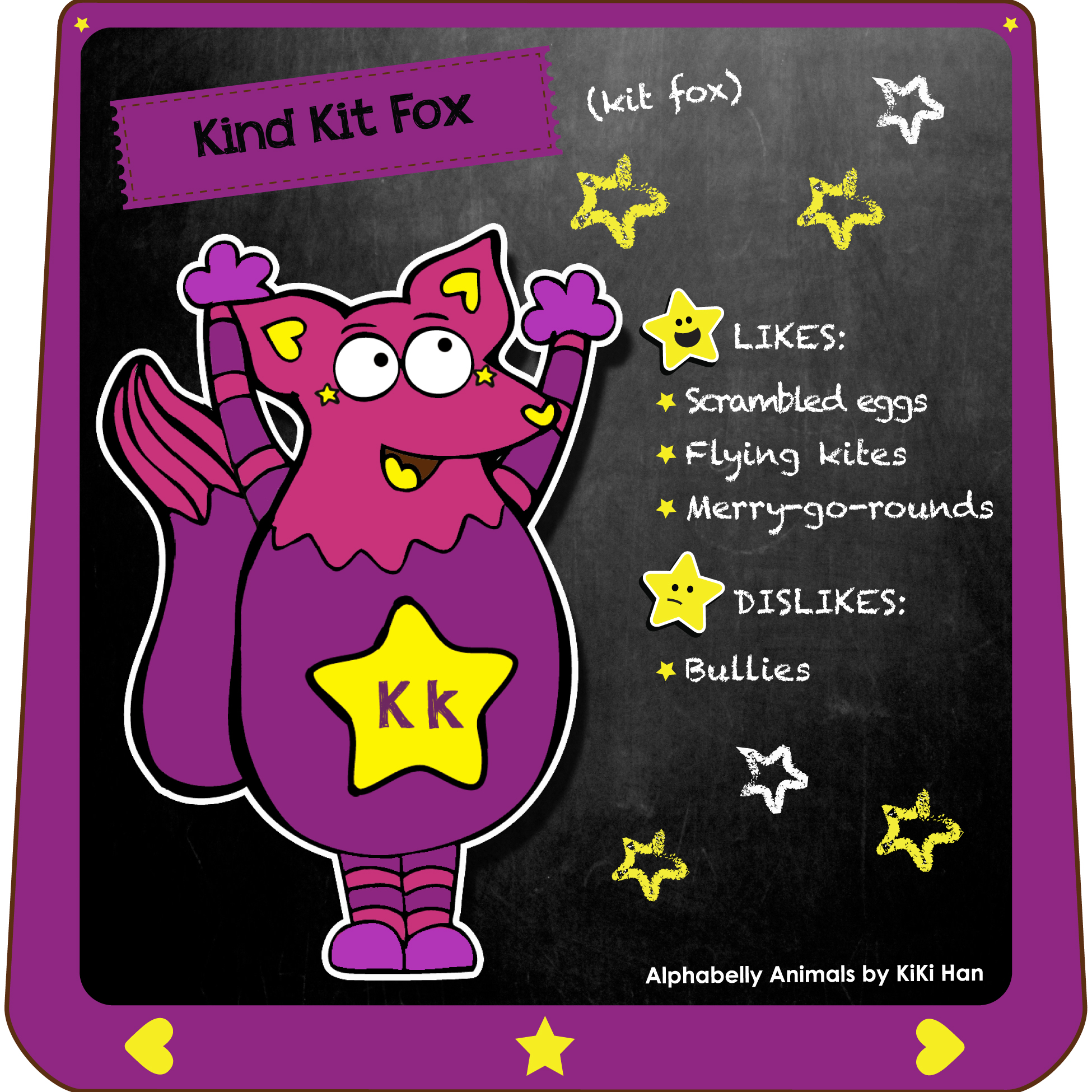 Kit Fox I KiKi Han I KiKiHan I GeekyKiKi I Geeky KiKi I Missgeekykiki I Cutiecons I Cutiecon I Cutie Con I Alphabellies I Alphabelly I A to Z Animal Poster