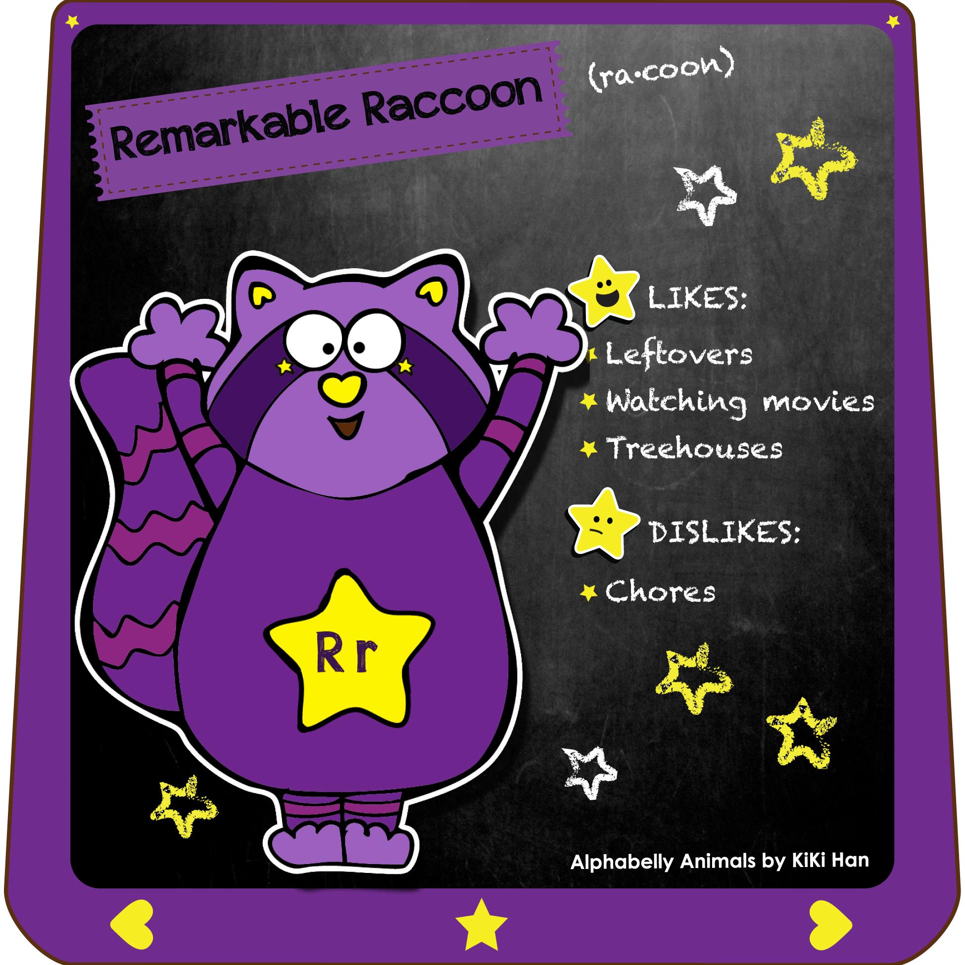 Raccoon I KiKi Han I KiKiHan I GeekyKiKi I Geeky KiKi I Missgeekykiki I Cutiecons I Cutiecon I Cutie Con I Alphabellies I Alphabelly I A to Z Animal Poster