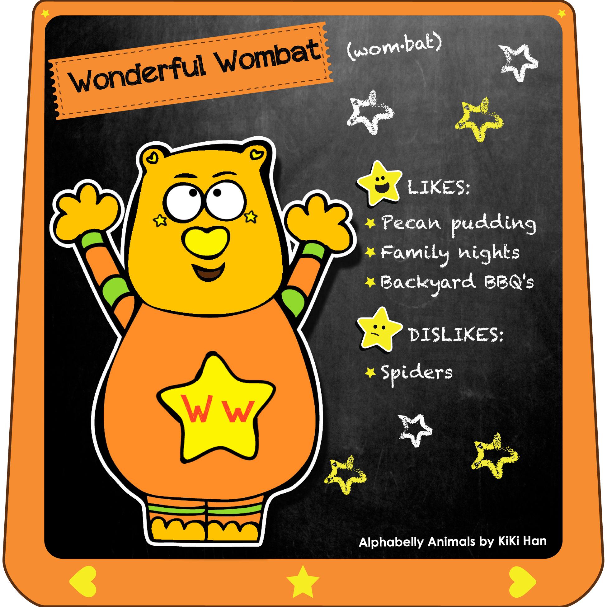 Wombat I KiKi Han I KiKiHan I GeekyKiKi I Geeky KiKi I Missgeekykiki I Cutiecons I Cutiecon I Cutie Con I Alphabellies I Alphabelly I A to Z Animal Poster