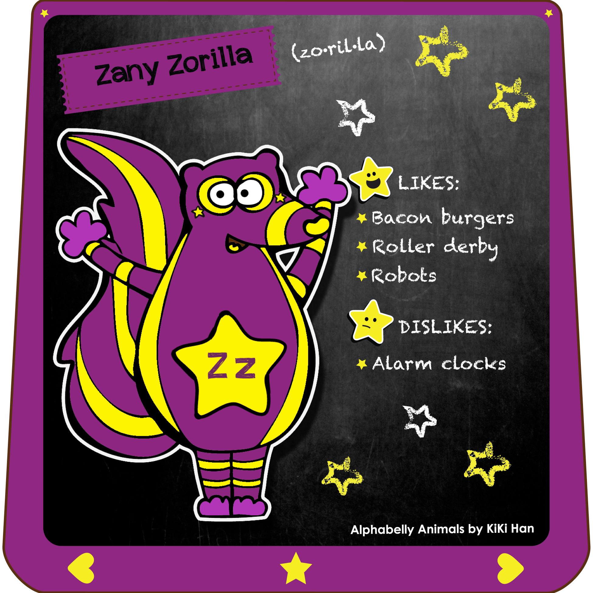 Zorilla I KiKi Han I KiKiHan I GeekyKiKi I Geeky KiKi I Missgeekykiki I Cutiecons I Cutiecon I Cutie Con I Alphabellies I Alphabelly I A to Z Animal Poster