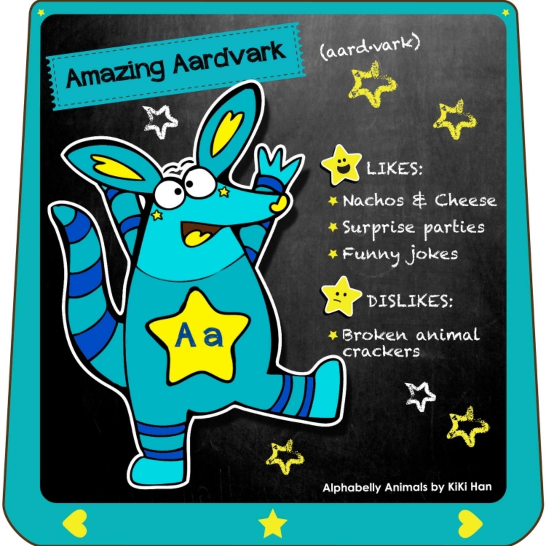 Aardvark I KiKi Han I KiKiHan I GeekyKiKi I Geeky KiKi I Missgeekykiki I Cutiecons I Cutiecon I Cutie Con I Alphabellies I Alphabelly I A to Z Animal Poster