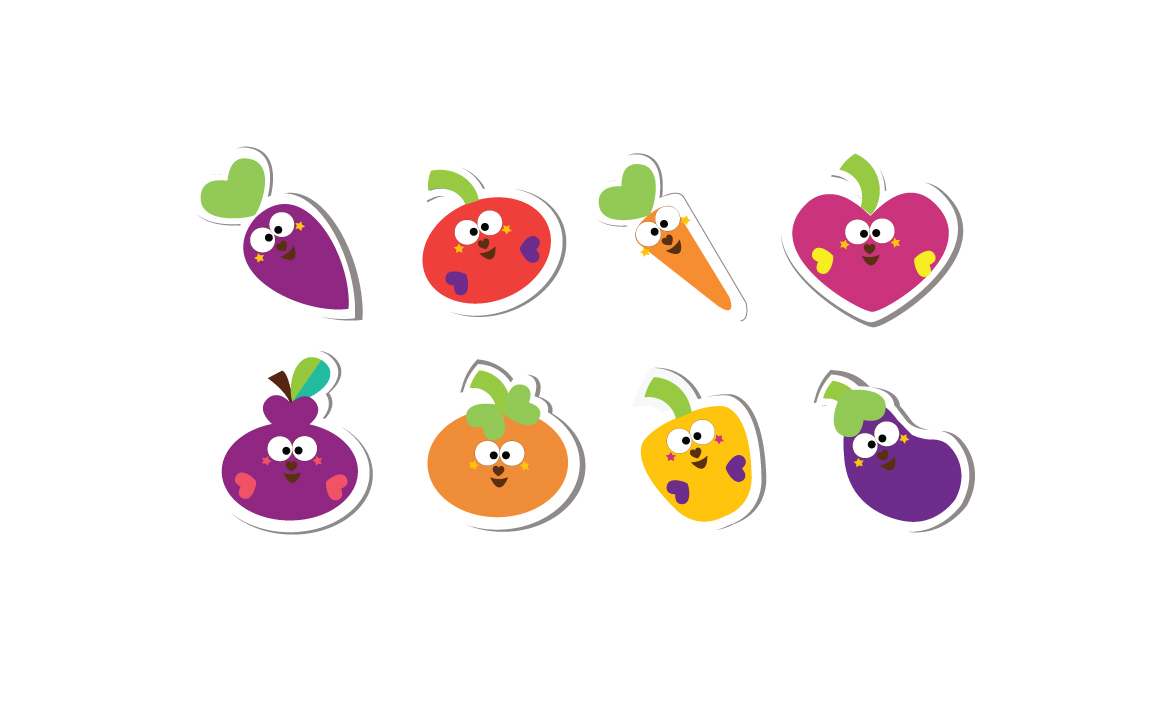 Cutiecon Eat your Fruits & Veggies Stickers