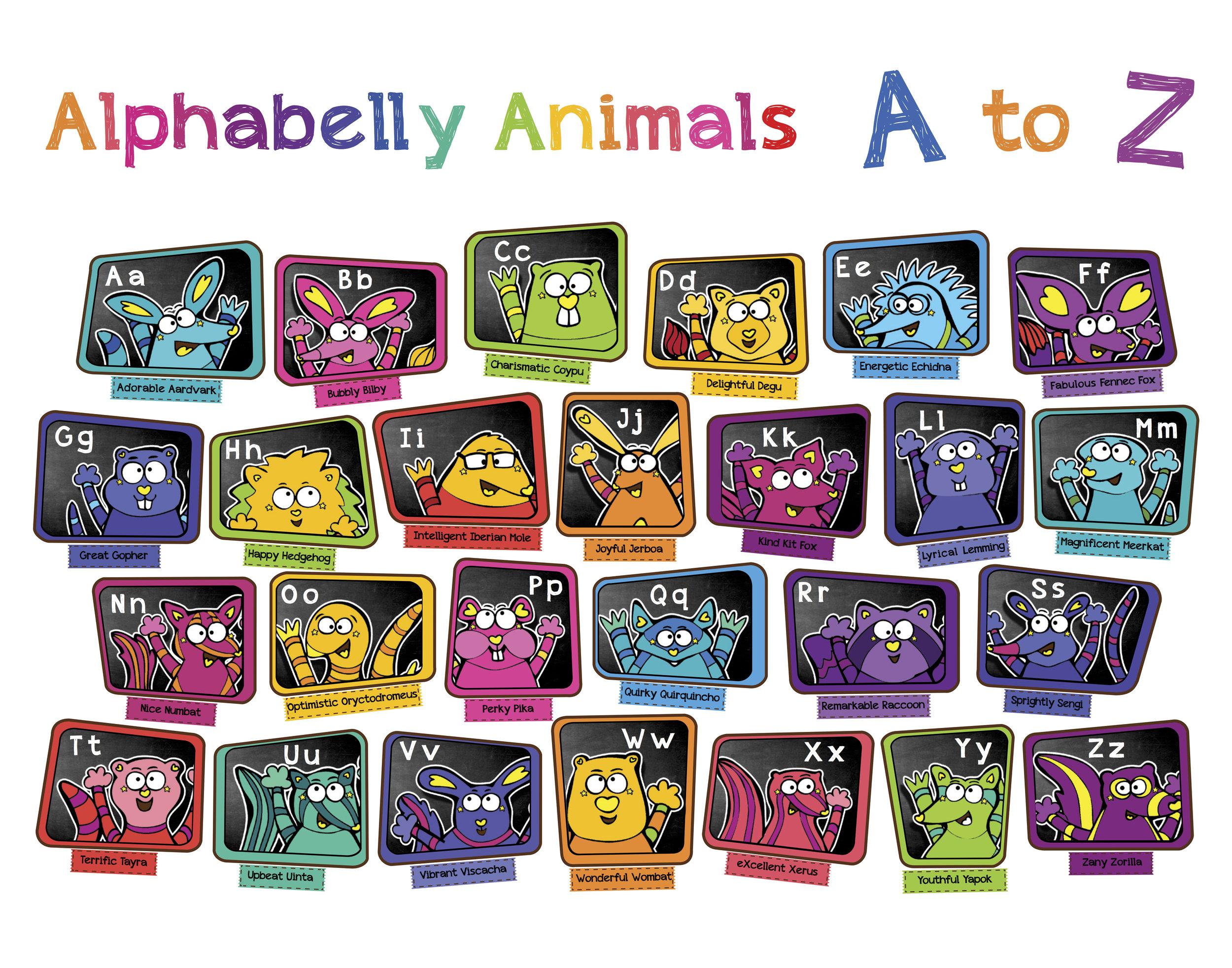 KiKi Han-KiKiHan-GeekyKiKi-Geeky KiKi-Missgeekykiki-Cutiecons-Cutiecon-Cutie Con-Alphabellies-Alphabelly-A to Z Animal Poster