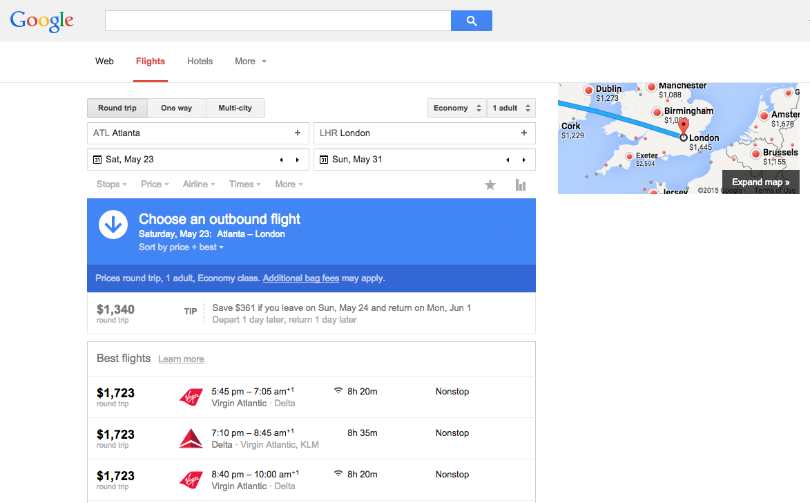 Google Flights search results for ATL-LHR