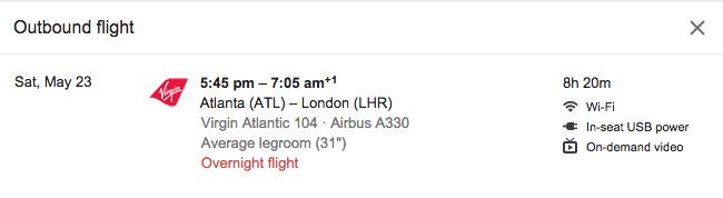 Google Flights flight detail view