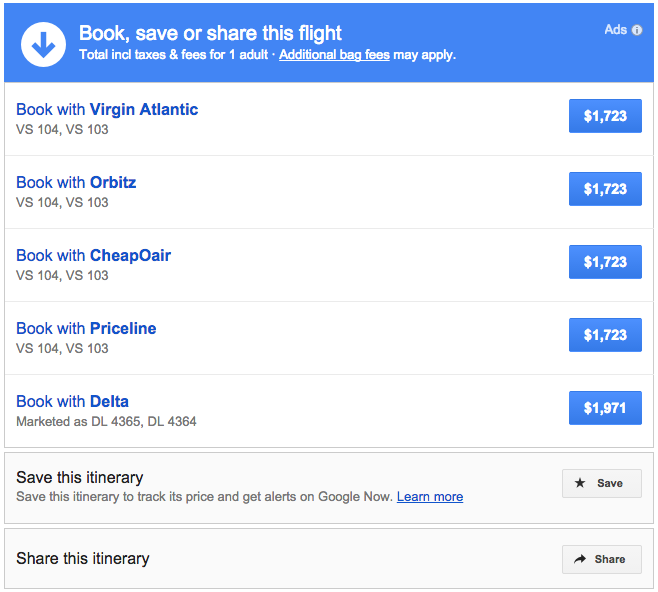 Google Flights gives you several choices once you choose your flights
