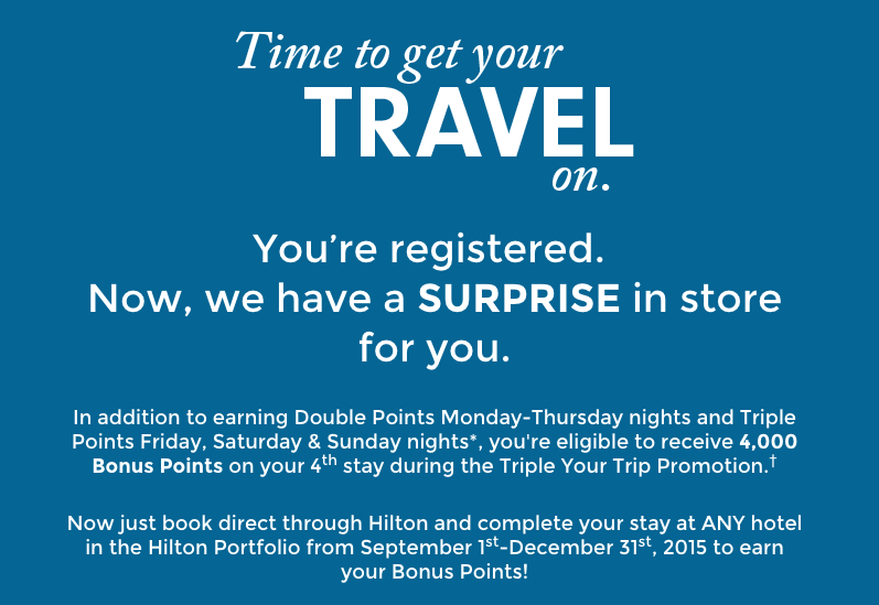 Hilton HHonors' Triple Your Trip promotion offers double and triple points as well as a bonus!