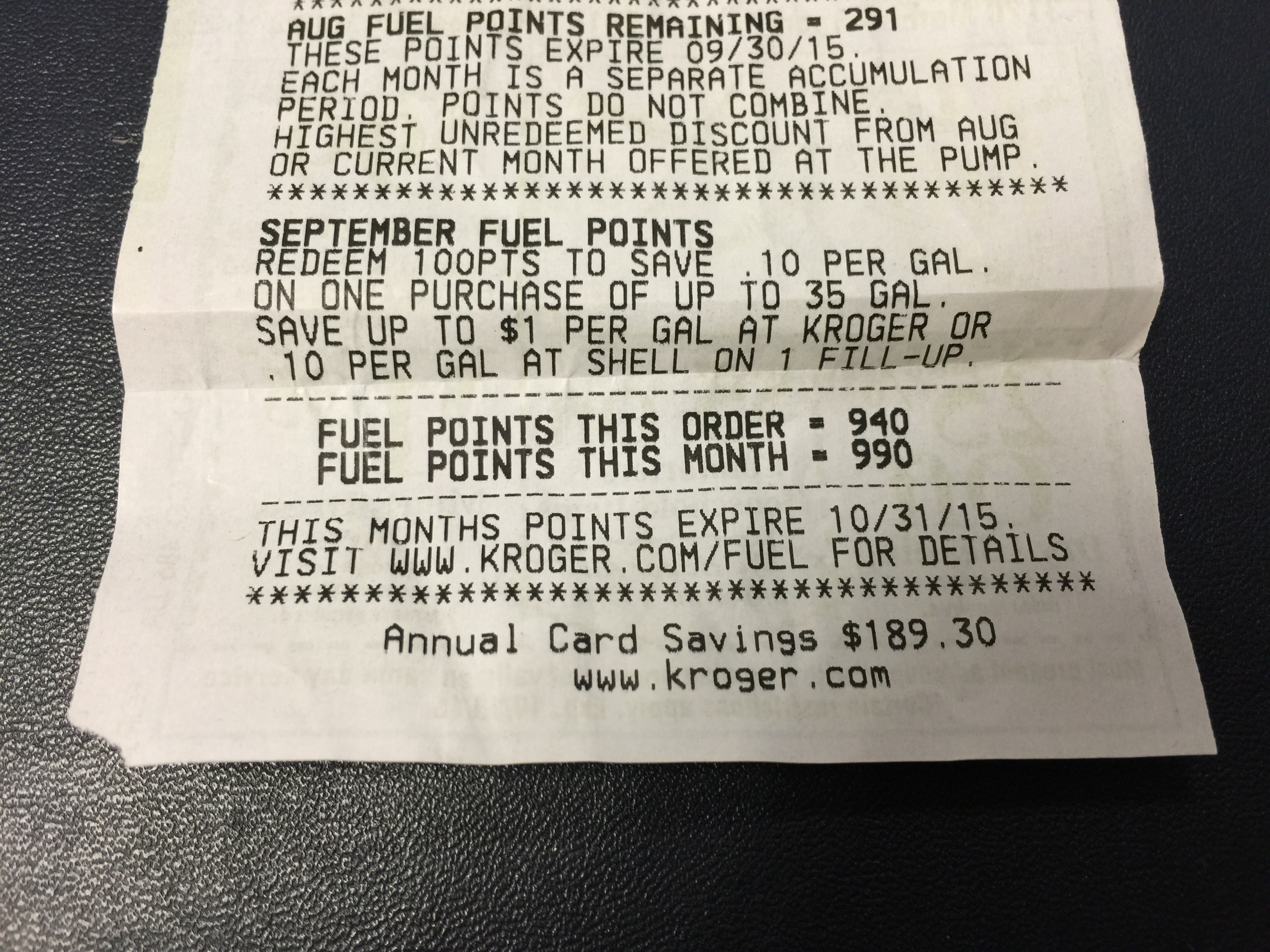 I spent $235 on gift cards and earned 940 Kroger fuel points! (click to enlarge)