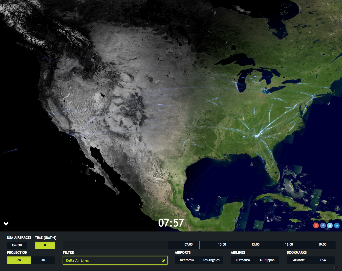 The Luciad web app all you to interact with 24 hours of actual flight data