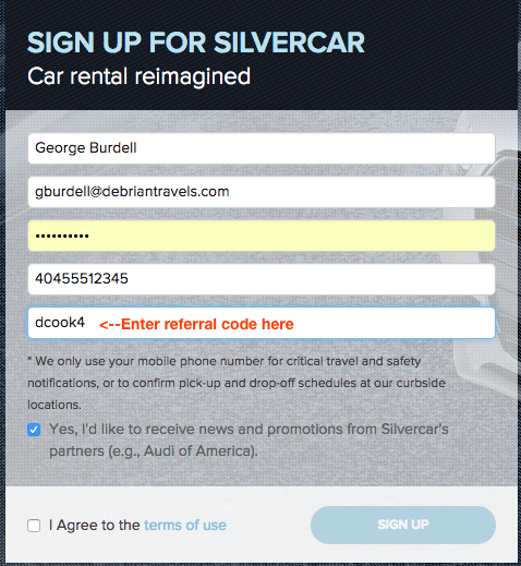 Enter referral code when you signup for a Silvercar account so you and your referrer receive $25 upon your first rental!  (click to enlarge)