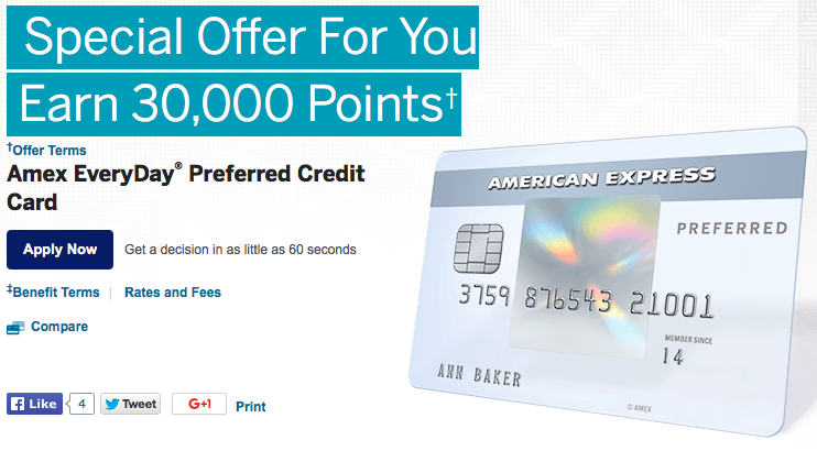 American Express is offering 30,000 points on the Everyday Preferred card for new customers