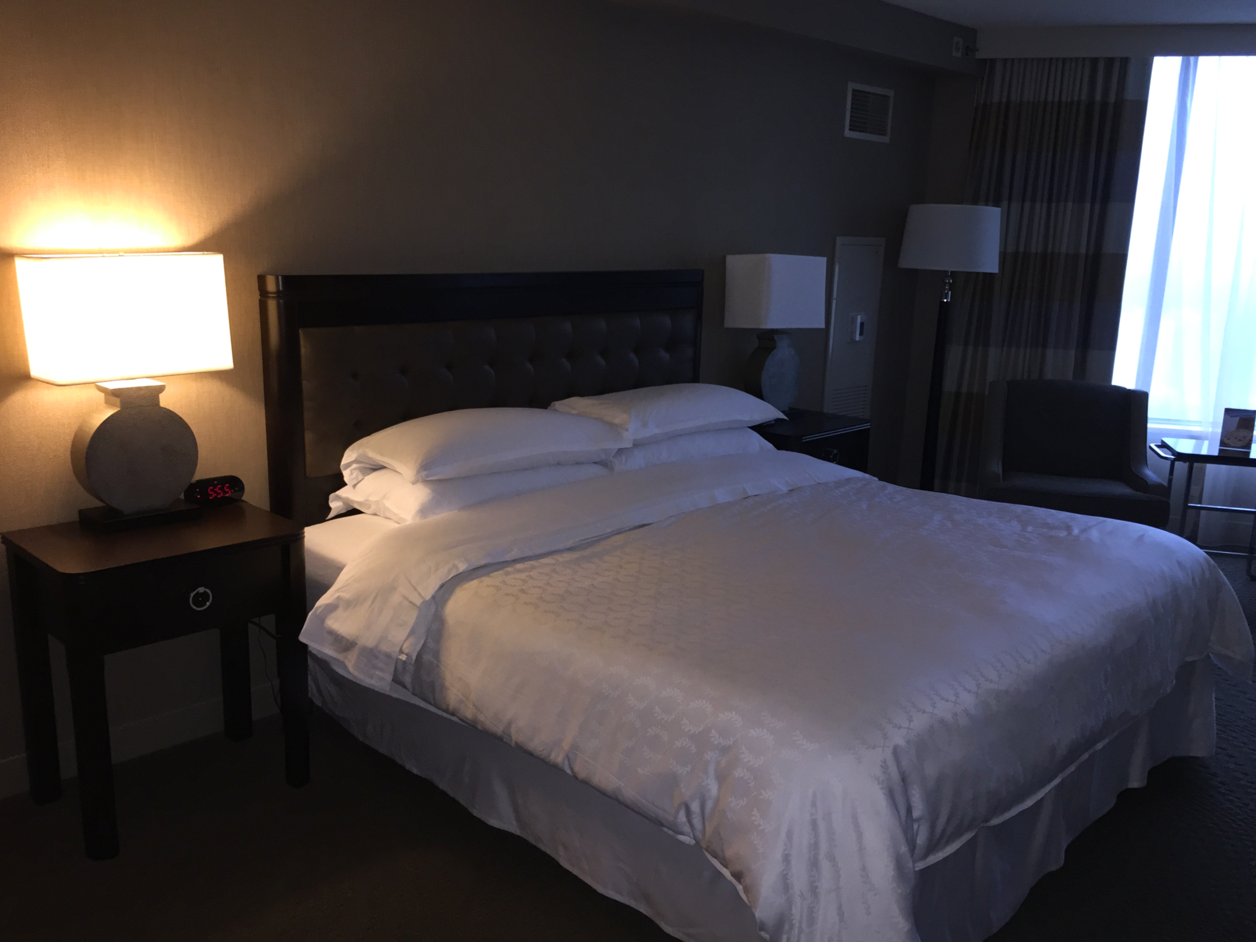 The king size bed was comfortable and almost seemed small in the large room  (click to enlarge)