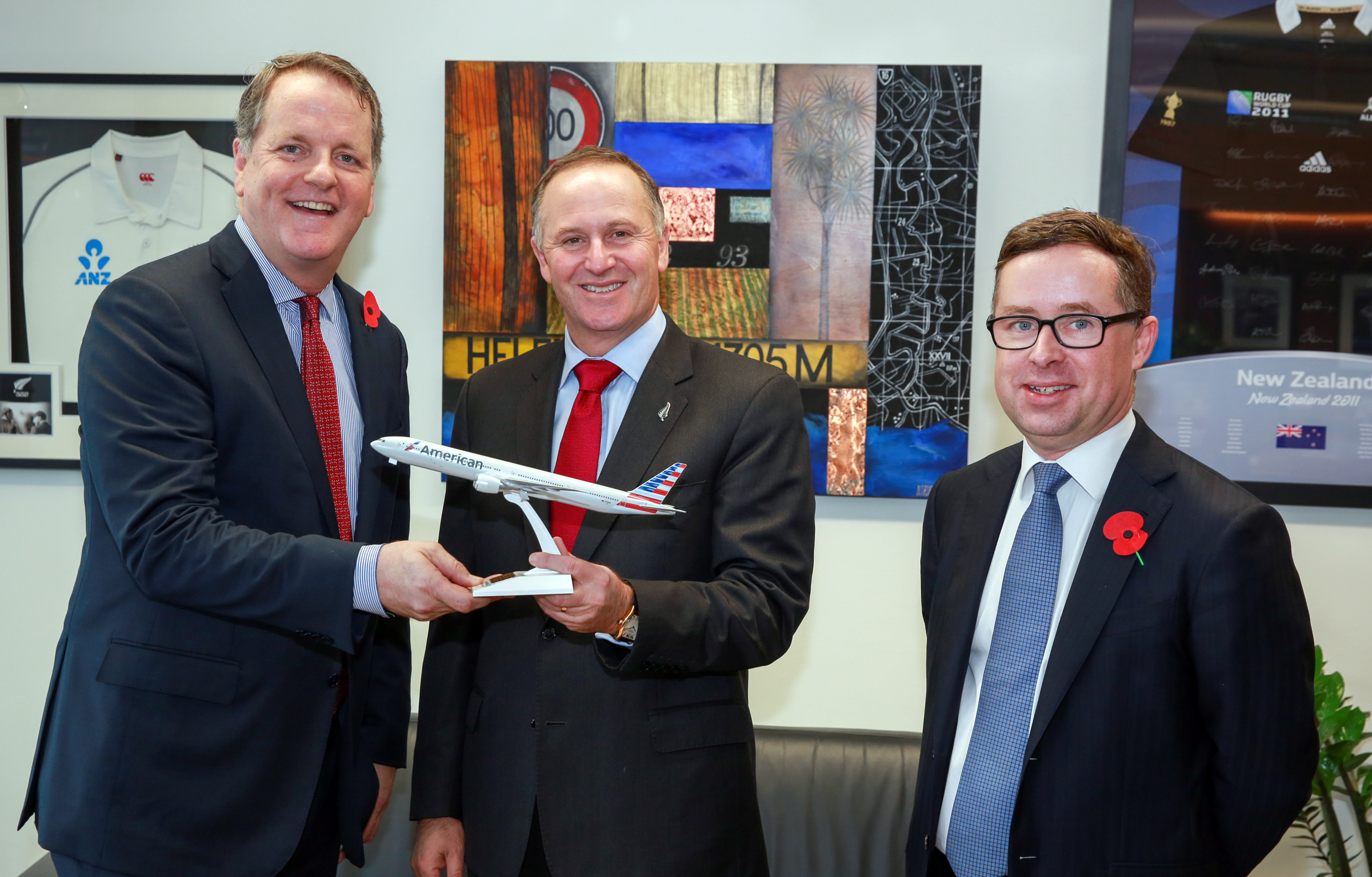 American Airlines chariman and CEO, Doug Parker,New Zealand Prime Minister, John Key and Qantas Group Chief Executive Officer, Alan Joyce announce AA's LAX-AKL service
