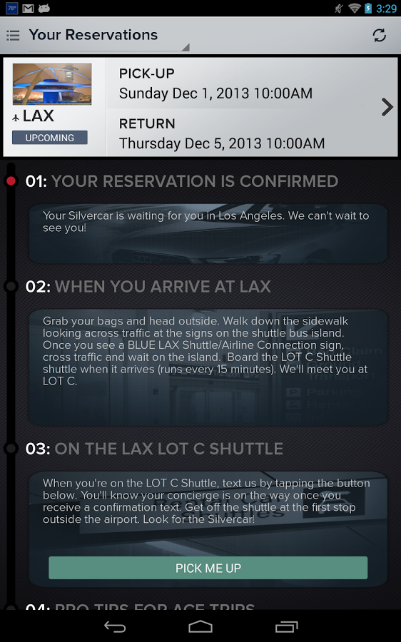Sample arrival instructions in the Silvercar app  (click to enlarge)
