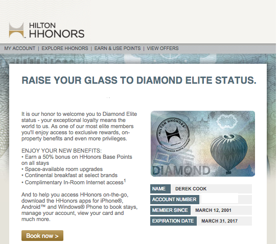 I have been status matched to Hilton HHonors Diamond Elite status through March 31, 2017!