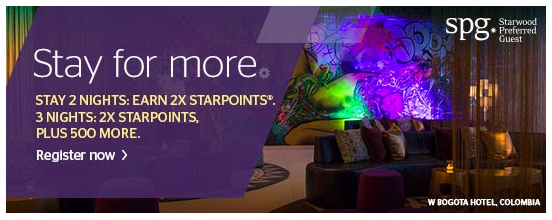 SPG offered a promotion for double points or more on two and three nights stays in December