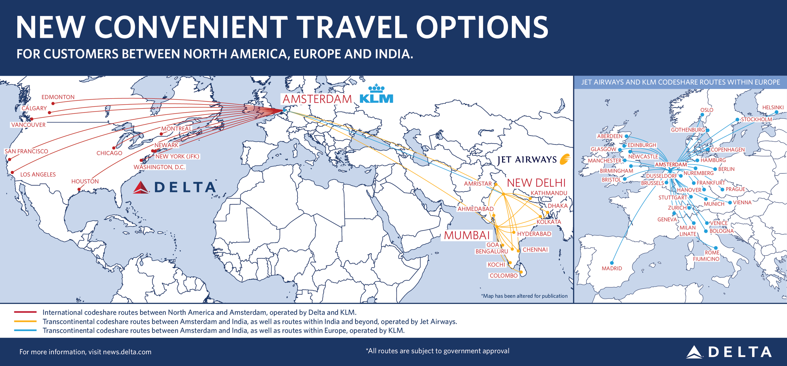 Route network of the new partnership between Delta, KLM and Jet Airways  (click to enlarge)