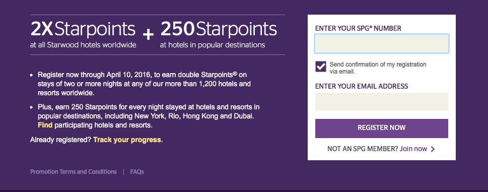 Earn double SPG Starpoints for multiple night stays between January 11 and April 30, 2016