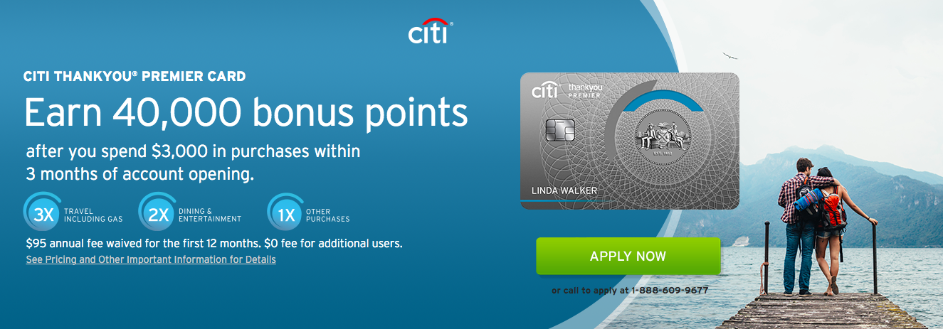 Citibank has dropped the signup bonus on the Citi ThankYou Premier Card to 40,000; the spending requirement remains the same at $3,000 in the first three months  (click to enlarge)