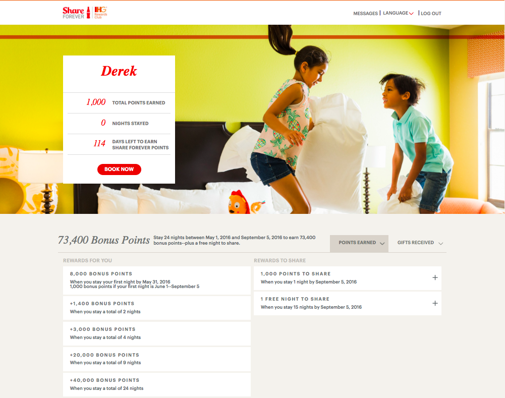 """My IHG """"Share Forever"""" offer  (click to enlarge)"""