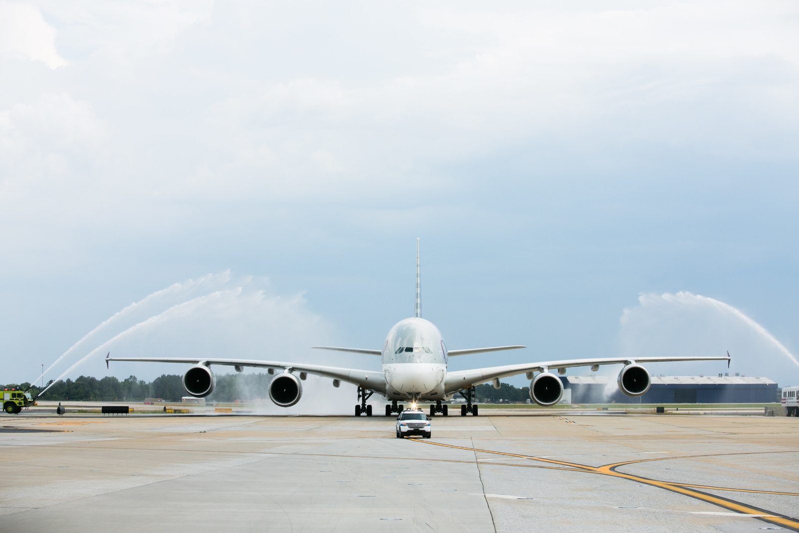 A Qatar A380 receives a water cannon salute to commemorate the airline's first Doha-Atlanta flight   (Photo: Qatar Airways)