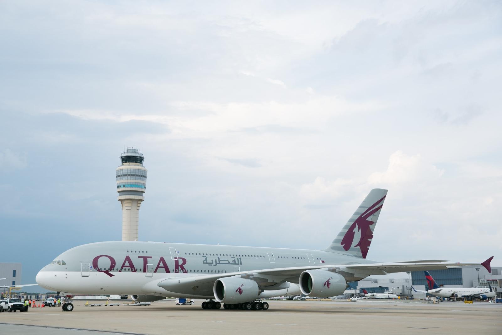 Qatar Airways A380 parked on the tarmac in Atlanta   (Photo: Qatar Airways)