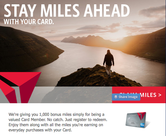 Delta Air Lines is offered certain Delta Credit Card members 1,000 bonus SkyMiles