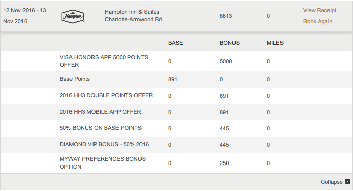 "I earned 8,813 HHonors points on a single stay using the ""Triple Up"" and Visa 5,000 bonus offers.  (click to enlarge)"
