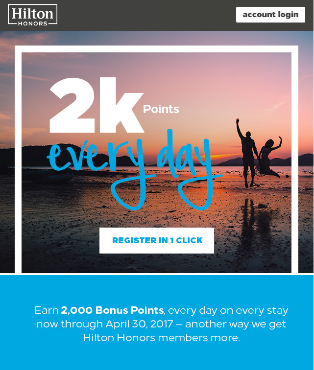 2K Every Day allows you to earn 2,000 bonus points for each eligible night until April 30.