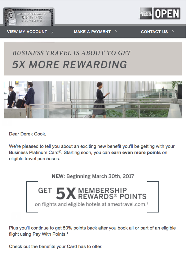 The Business Platinum Card from American Express gets new benefits as of March 30, 2017.  (click to enlarge)