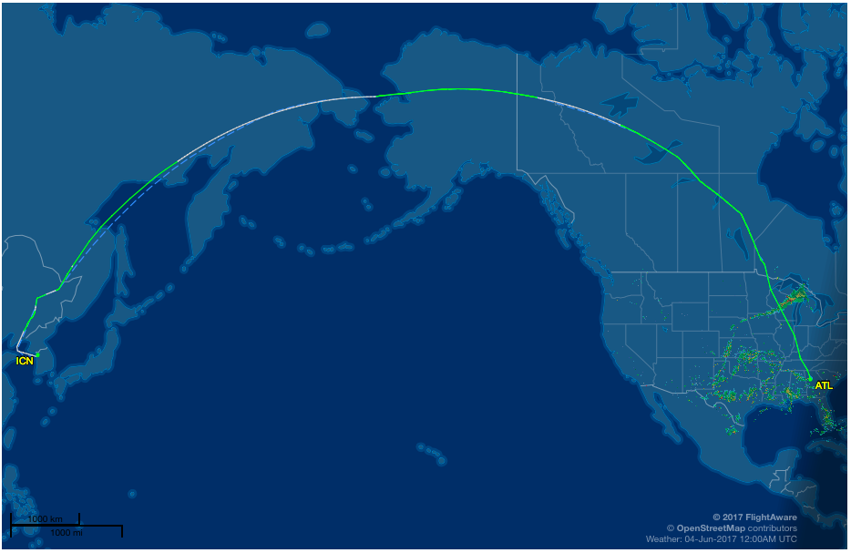 Flight path of inaugural Delta Air Lines flight between Atlanta and Seoul   (FlightAware.com)