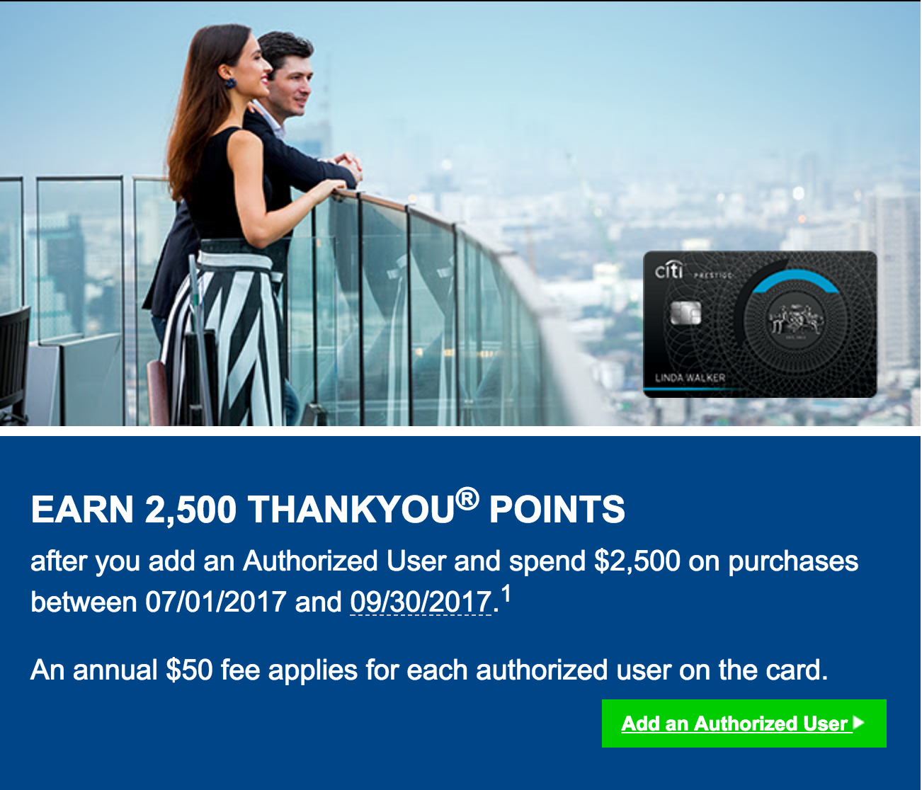 Citibank is offering 2,500 bonus ThankYou Points for adding an authorized and spending $2,500