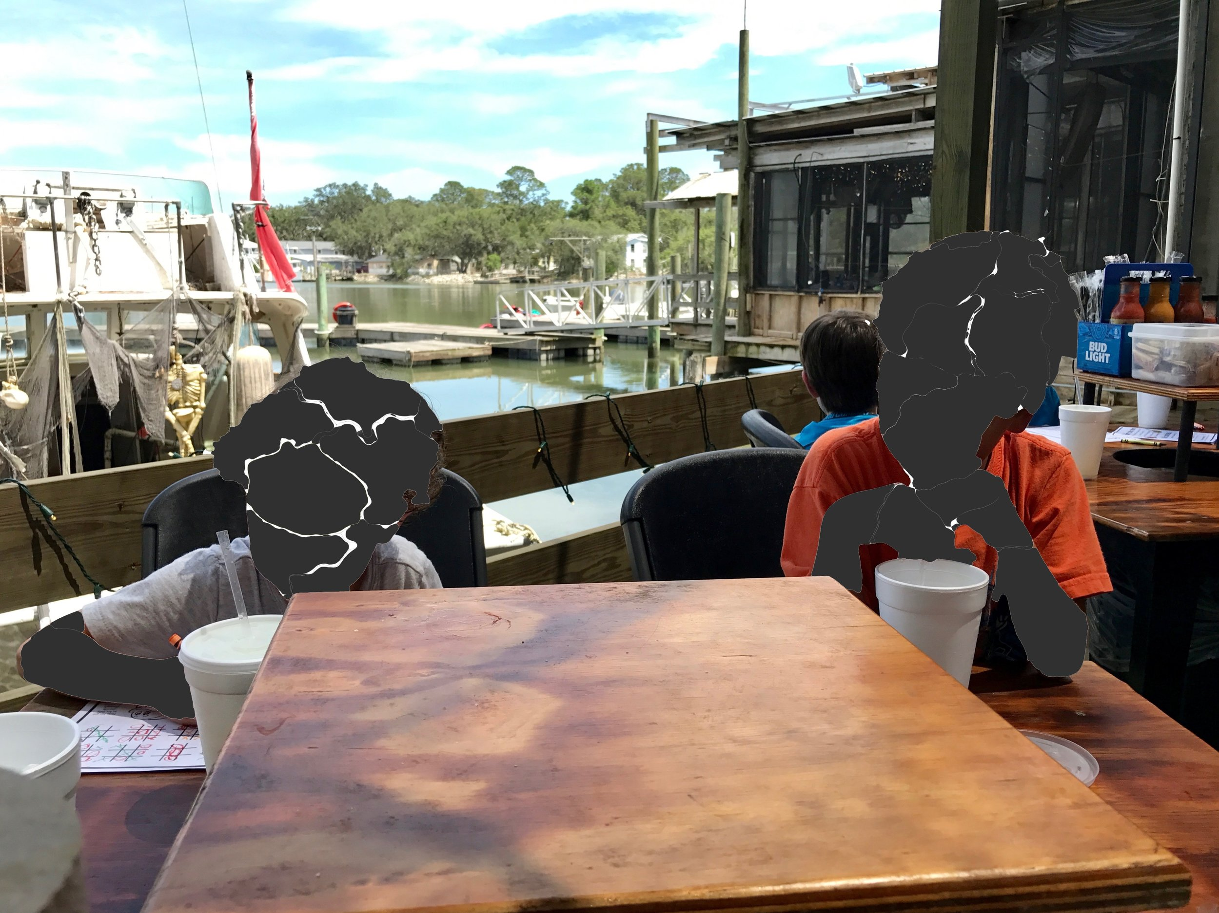 Our view for dinner, overlooking Chimney Creek, at The Crab Shack.