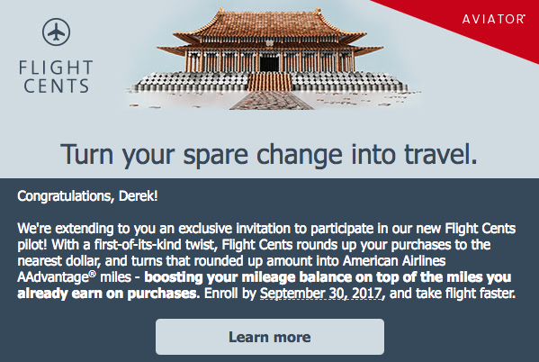 Email inviting me to AAdvantage Aviator Flight Cents pilot program