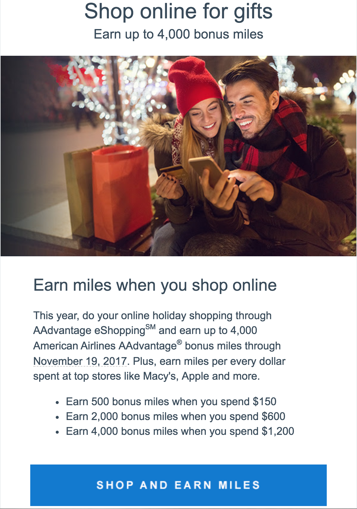 AAdvantage eShopping Christmas 2017 promotion  (click to enlarge)
