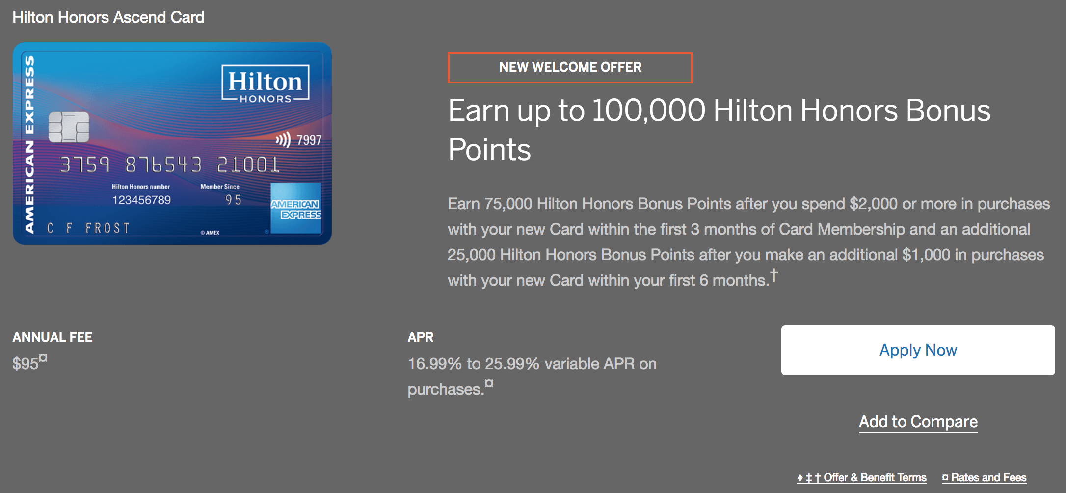 American Express is currently offering up to 100,000 Hilton Honors points for new cardholders  (click to enlarge).