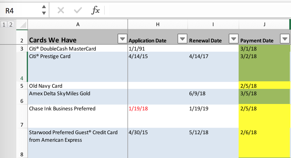 I note the date I applied for the card, its renewal date and when my payment is due.  (click to enlarge)