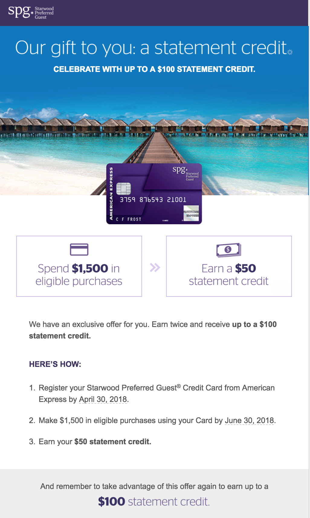 Spend promotion for my consumer Amex Starwood Preferred Guest Credit Card.