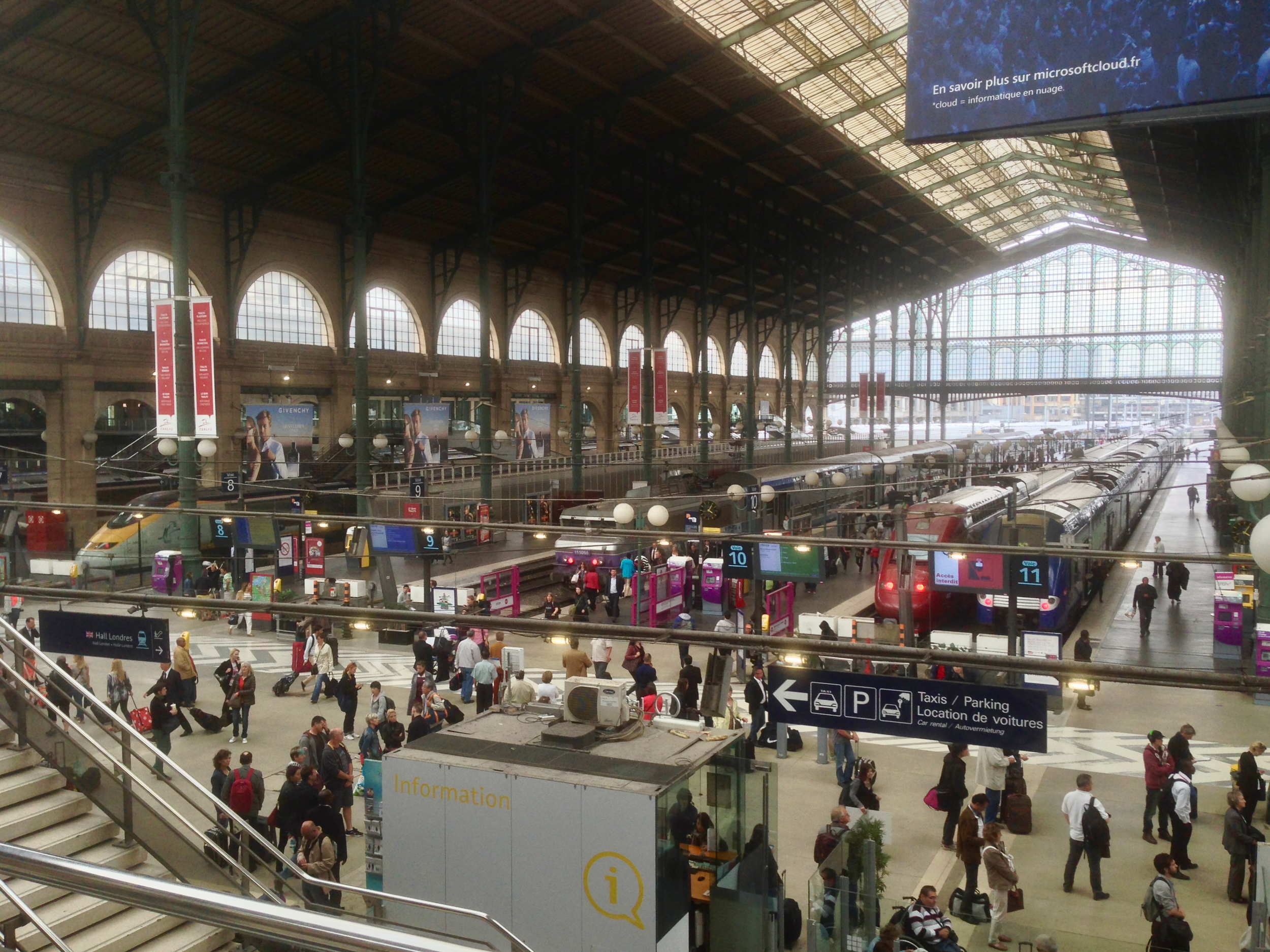 Gare du Nord in Paris  (click to enlarge).