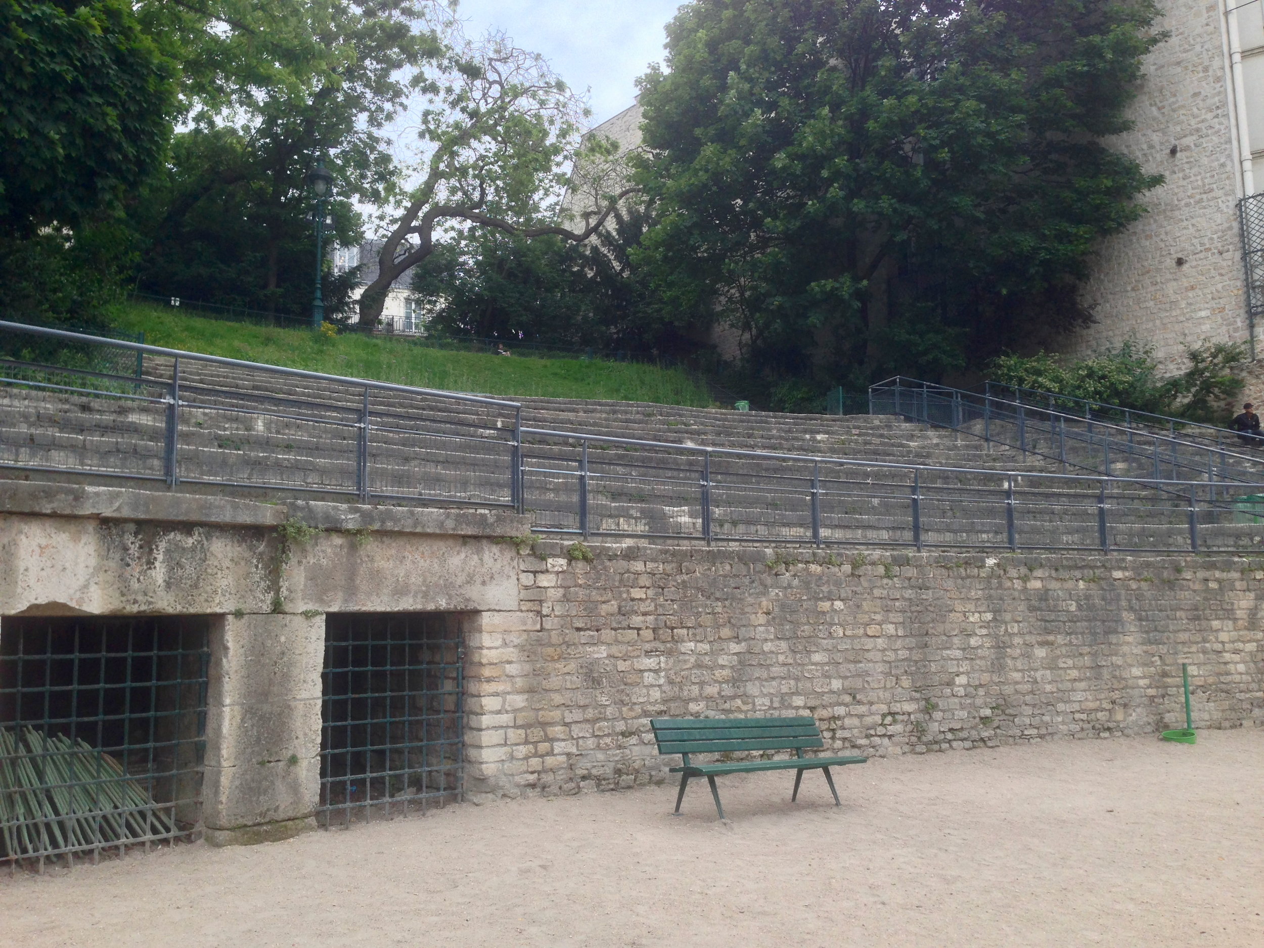 The Arenas of Lutetia in Paris is an ancient Roman amphitheater that offers free Wi-Fi.  (click to enlarge)