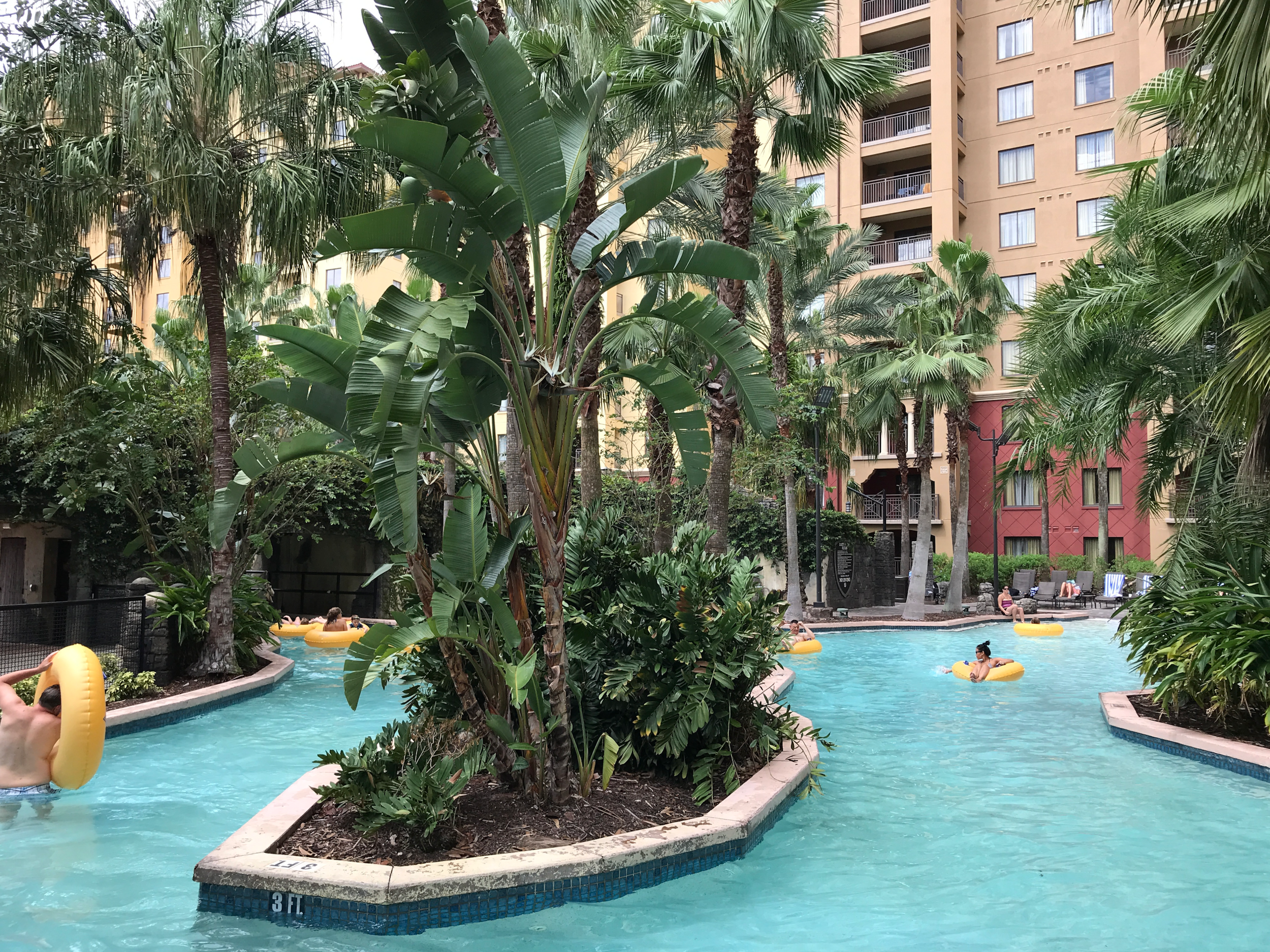 We spent hours on the lazy river outside our building.