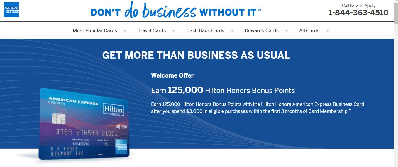 The American Express Hilton Honors Business is my wife's first new card in three years  (click to enlarge)